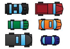Conjunto de vetores de visão aérea do carro de brinquedo