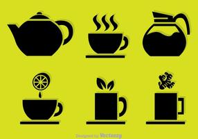 Ícones do vetor preto do chá
