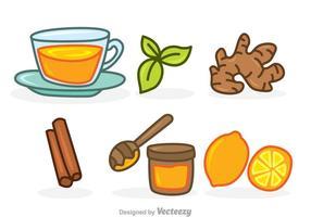 Ícones do conjunto de desenhos animados de chá de ervas