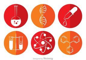 Ícones de vetor de círculo de química