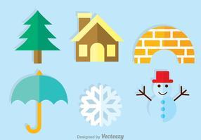 Ícones planos do inverno do vetor