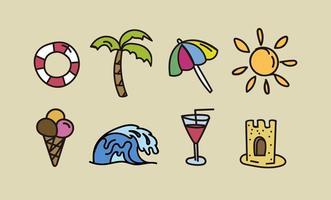 Elementos de praia desenhados à mão vetor