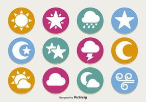 Conjunto de ícones de clima plano vetor
