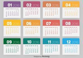 Calendário 2016 vetor