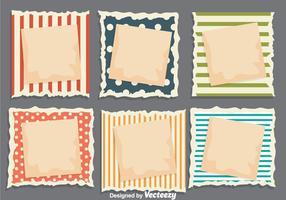 Clipes de papel rasgado do bloco de notas vetores
