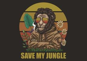 leão salvar minha ilustração da selva vetor