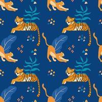 padrão sem emenda de tigres e chitas gatos selvagens