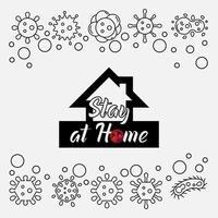 cartaz de prevenção de vírus de ficar em casa vetor