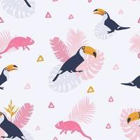 padrão tropical com tucanos. vetor