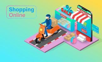 compras online com entrega de scooter vetor
