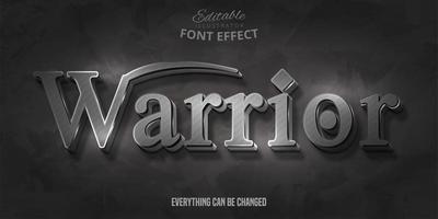 texto de guerreiro, efeito de fonte editável em 3d vetor
