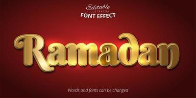 efeito de texto ramadan dourado vetor