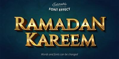 efeito de texto brilhante ramadan kareem ouro