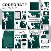 identidade corporativa definida com design de traçado de pincel em verde vetor