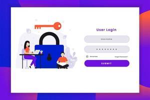 ilustração de login do usuário com chave