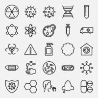 coleção de vários elementos de pandemia de vírus