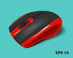 mouse sem fio vermelho e preto