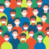 multidão de pessoas em máscaras vetor