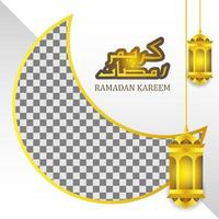 lanterna de ouro e modelo de caligrafia árabe para ramadan kareem vetor