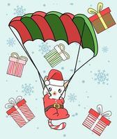 gato de Papai Noel com para-quedas e presentes caindo