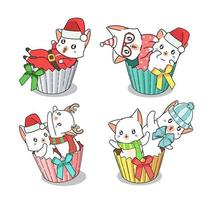 conjunto de gatos de Natal de mão desenhada no conjunto de invólucros de cupcake