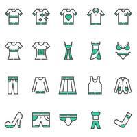 ícones de roupas e vestuário vetor