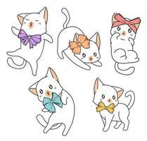 gatos desenhados à mão com arcos vetor