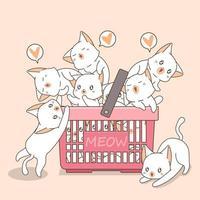 gatos adoráveis em uma cesta vetor