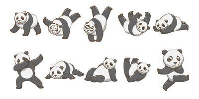 conjunto de panda dos desenhos animados vetor