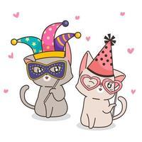 personagens adoráveis gatos extravagantes vetor