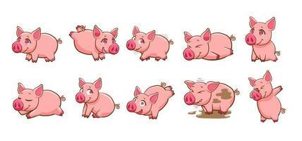 conjunto de porco dos desenhos animados vetor