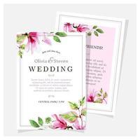 convite de casamento de magnólia desenhada de mão vetor
