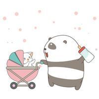mão desenhada panda empurrando
