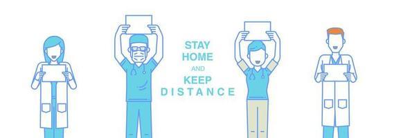 fique em casa da equipe médica vetor