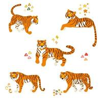 conjunto de tigres dos desenhos animados vetor