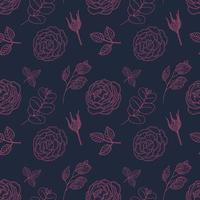 vintage rosa desenho padrão sem emenda vetor