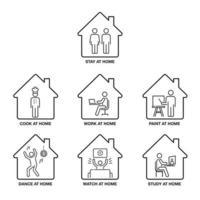 ficar em casa conjunto de ícones