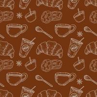 padrão sem emenda de café e sobremesas vetor