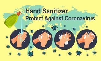 desinfetante para as mãos protege contra o coronavírus vetor