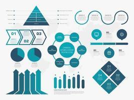 conjunto de infográfico de negócios azul criativo