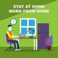 fique em casa e trabalhe. vetor