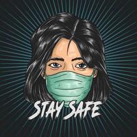 mulher usando máscara para ficar a salvo da covid-19