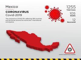 mapa do país afetado pelo México de coronavírus vetor