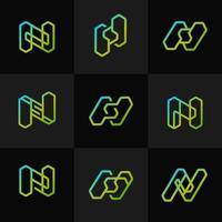 coleção de logotipo geométrico de néon moderno