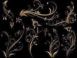 conjunto de ornamentos florais vintage ouro vetor