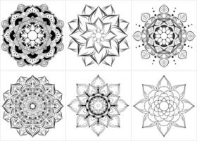 mandala preto e branco definida em estilo floral vetor