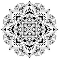 flor de mandala em preto e branco vetor