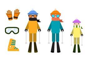Elementos vetoriais de esqui