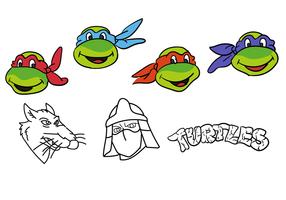 Vetores simples de tartarugas Ninja
