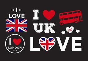 I Love UK Elements vetor